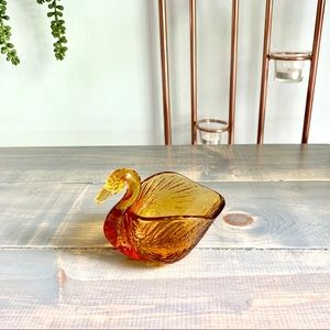 Vintage Gold Glass Swan Candy Bowl Nut Dish